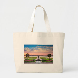 Charleston SC Pineapple Fountain Sunrise Large Tote Bag
