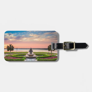 Charleston SC Pineapple Fountain Sunrise Luggage Tag