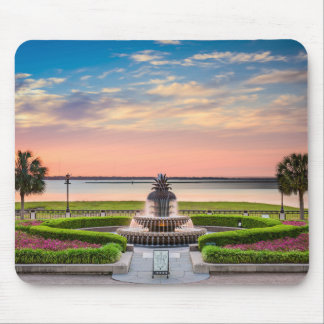Charleston SC Pineapple Fountain Sunrise Mouse Pad
