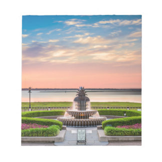 Charleston SC Pineapple Fountain Sunrise Notepad