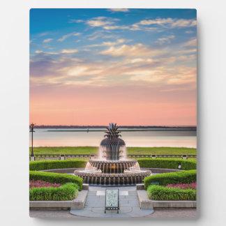 Charleston SC Pineapple Fountain Sunrise Plaque