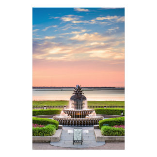 Charleston SC Pineapple Fountain Sunrise Stationery