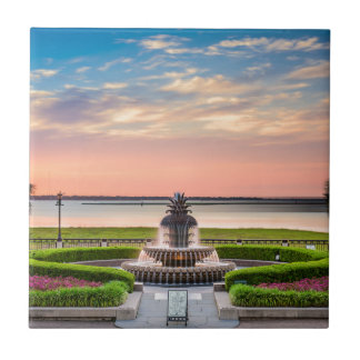 Charleston SC Pineapple Fountain Sunrise Tile