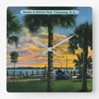 Charleston, South Carolina, Battery Park, Vintage Square Wall Clock