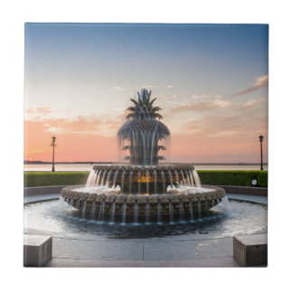 Charleston South Carolina Pineapple Fountain Ceramic Tile