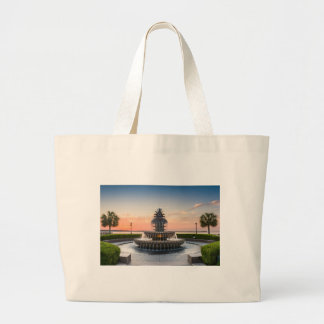Charleston South Carolina Pineapple Fountain Large Tote Bag