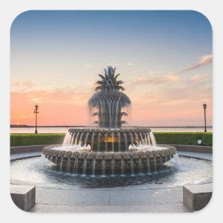 Charleston South Carolina Pineapple Fountain Square Sticker