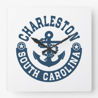 Charleston South Carolina Square Wall Clock