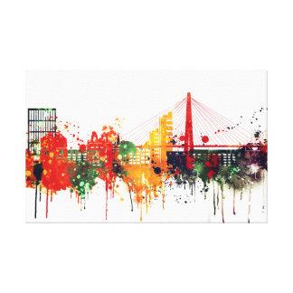 Charleston, South Carolina Watercolor Skyline Canvas Print