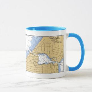 Charlevoix, MI Nautical Harbor Chart Mug