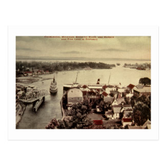 Charlevoix, Michigan, Showing River and Harbor Postcard