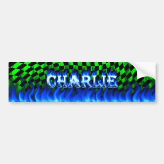 Charlie blue fire and flames bumper sticker design