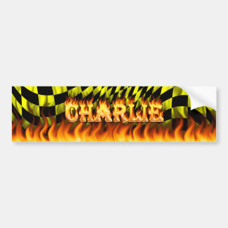 Charlie real fire and flames bumper sticker design