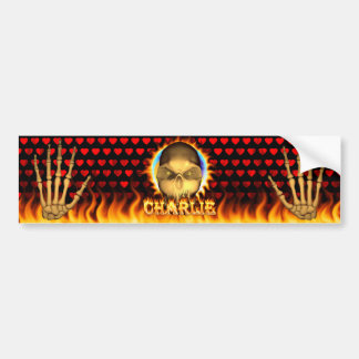Charlie skull real fire and flames bumper sticker