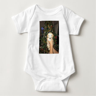 Charlie The GoldenDoodle Puppy on Christmas Baby Bodysuit