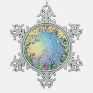 Charlie's Colorful Unverse Snowflake Pewter Christmas Ornament