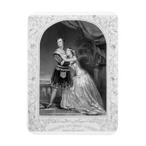 Charlotte and Susan Cushman as Romeo and Juliet, A Rectangle Magnet