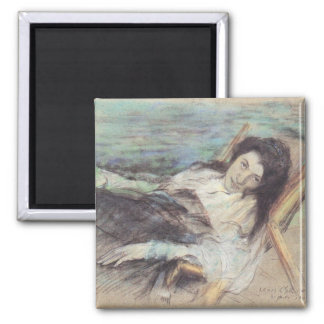 Charlotte Berend on a stool by Lovis Corinth Magnet