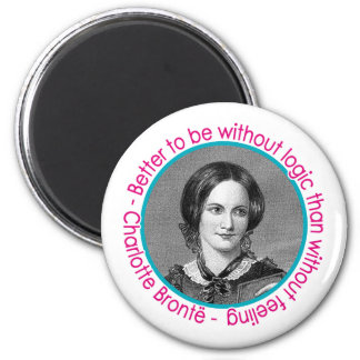 Charlotte Bronte Portrait With Quote 6 Cm Round Magnet
