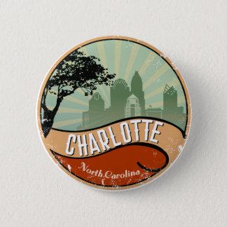 Charlotte City Skyline Retro Vintage Button