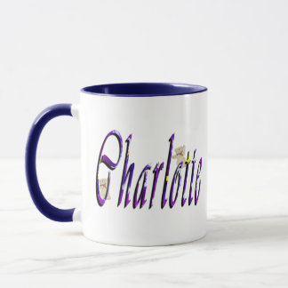 Charlotte, Cursive Name Logo, Combo Mug