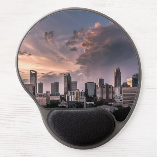 Charlotte downtown at sunset time, North Carolina Gel Mouse Pad