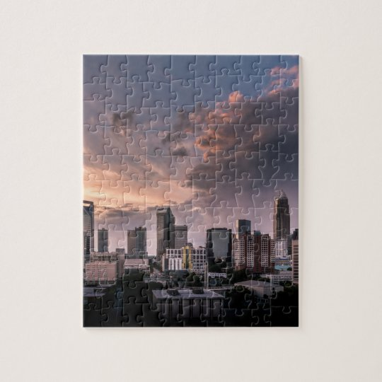 Charlotte downtown at sunset time, North Carolina Jigsaw Puzzle