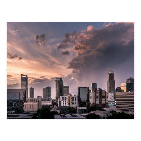 Charlotte downtown at sunset time, North Carolina Postcard