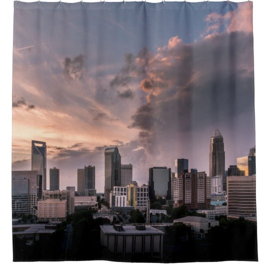 Charlotte downtown at sunset time, North Carolina Shower Curtain