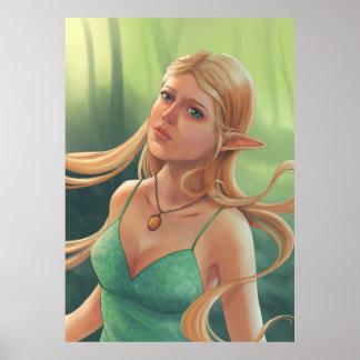 Charlotte - Fantasy Elven Girl in Forest Portrait Poster