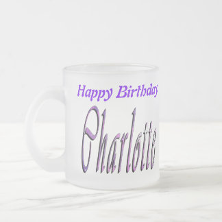 Charlotte Girls Name Logo, Frosted Glass Coffee Mug