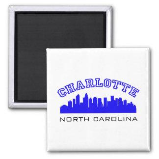 Charlotte NC Outline Square Magnet