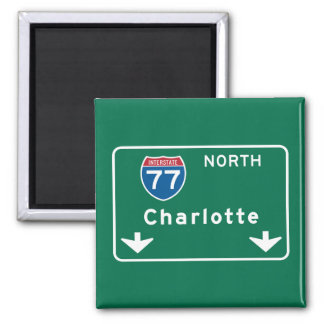 Charlotte, NC Road Sign Square Magnet