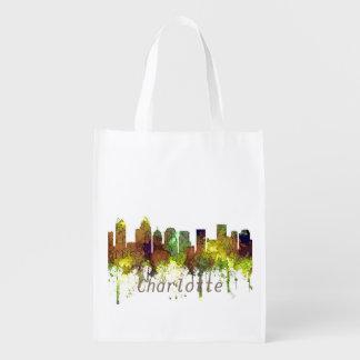 Charlotte NC Skyline SG Safari Buff Reusable Grocery Bag