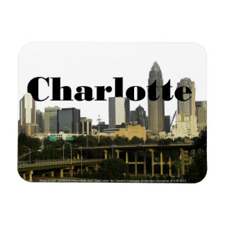 Charlotte NC Skyline with Charlotte in the Sky Vinyl Magnet