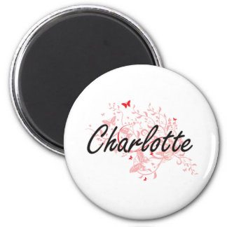 Charlotte North Carolina City Artistic design with 6 Cm Round Magnet