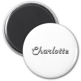 Charlotte North Carolina Classic Retro Design 6 Cm Round Magnet
