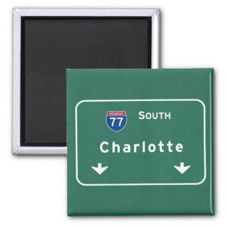 Charlotte North Carolina nc Interstate Highway : Square Magnet