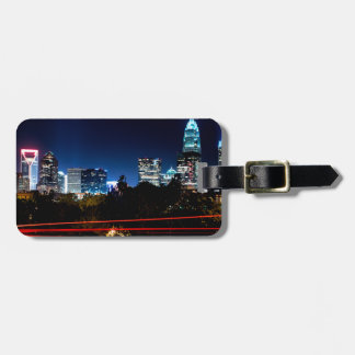 charlotte north carolina night skyline luggage tag