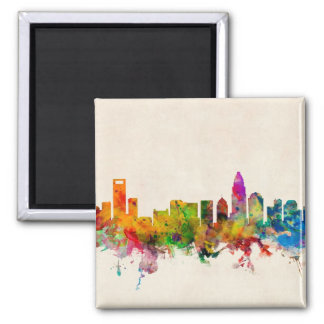 Charlotte North Carolina Skyline Cityscape Fridge Magnets