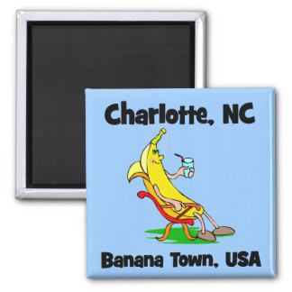Charlotte North Carolina Square Magnet