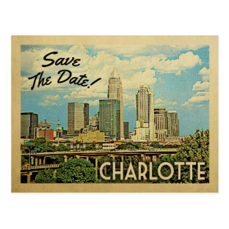 Charlotte Save The Date North Carolina Postcard