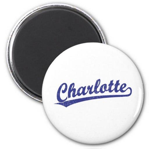 Charlotte script logo in blue refrigerator magnets