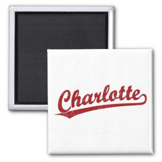 Charlotte script logo in red fridge magnet