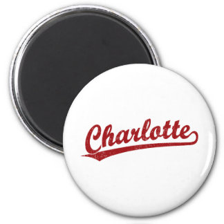 Charlotte script logo in red refrigerator magnets