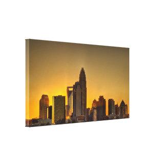 Charlotte skyline during sunset canvas print