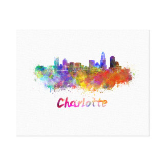 Charlotte skyline in watercolor canvas print