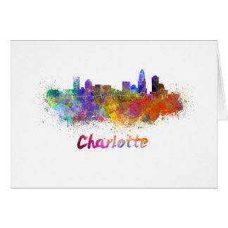 Charlotte skyline in watercolor card