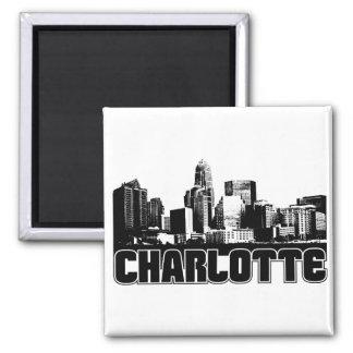 Charlotte Skyline Square Magnet
