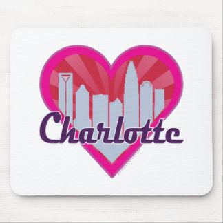 Charlotte Skyline Sunburst Heart Mouse Pad